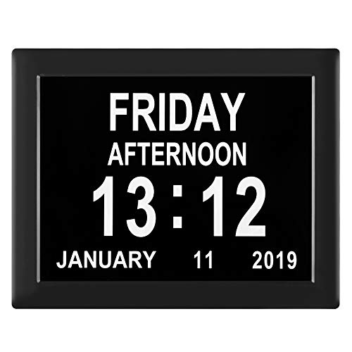 [Newest Version] 8-Inch Dementia Clock Digital Calendar Clock - 8 Alarm Options,Extra Large Non-Abbreviated Day & Month for Vision Impaired, Alzheimer,Elderly, Memory Loss