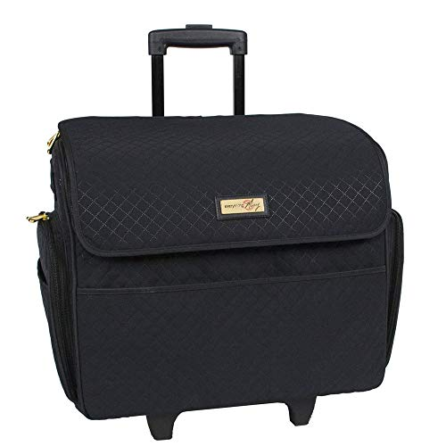 Everything Mary Black Stamped Rolling Sewing Machine Tote - Sewing Machine Case Fits Most Standard Brother & Singer Sewing Machines