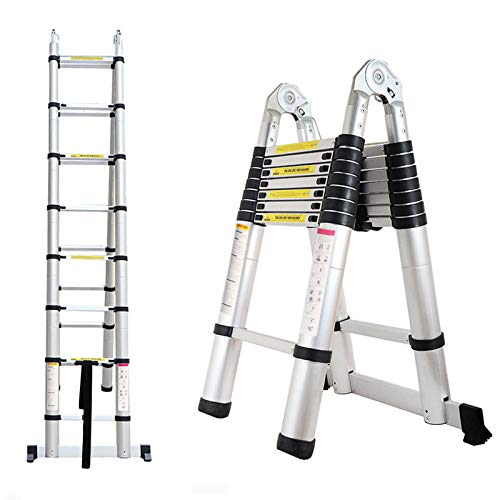 Telescopic Ladder A-Type 16.5FT Aluminum Extension Folding Telescoping Non-Slip Steps Portable Multi-Purpose for Home/Building Maintenance Decoration with Support Bar EN131 Standard MAX Load 330lb