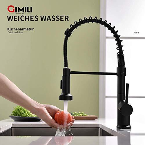 GIMILI waterkraan keuken zwart uittrekbaar keukenkraan mengkraan eengreepsmengkraan met douche wastafelkraan