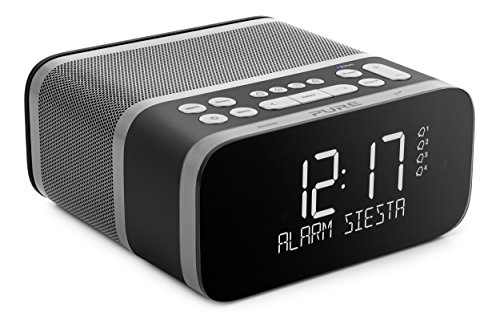 Pure Siesta S6 DAB+ DAB FM Digital Radio Alarm Clock with Bluetooth, 40 Station Pre-Sets, CrystalVue Display and USB Mobile Charging - Pure DAB Radio Bedside Clock Radio - Graphite