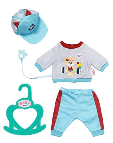 Zapf Creation 831878 BABY born Little Sport Outfit blau 36 cm - Puppenkleidung Puppenoutfit Set bestehend aus Shirt, Hose und Mütze. Inkl. Schnuller und Kleiderbügel