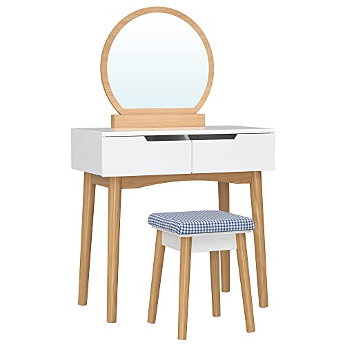SONGMICS Schminktisch mit Spiegel, moderner Frisiertisch mit gepolstertem Hocker, 2 große Schubladen mit Schienen, 80 x 40 x 128 cm, weiß-naturfarben RDT11K