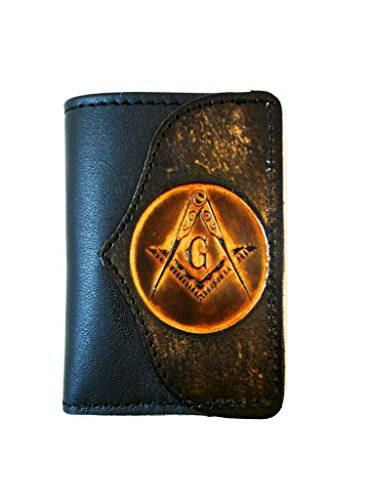Hilltop Leather Company Mens Handcrafted Leather Trifold Wallet Masonic Mason