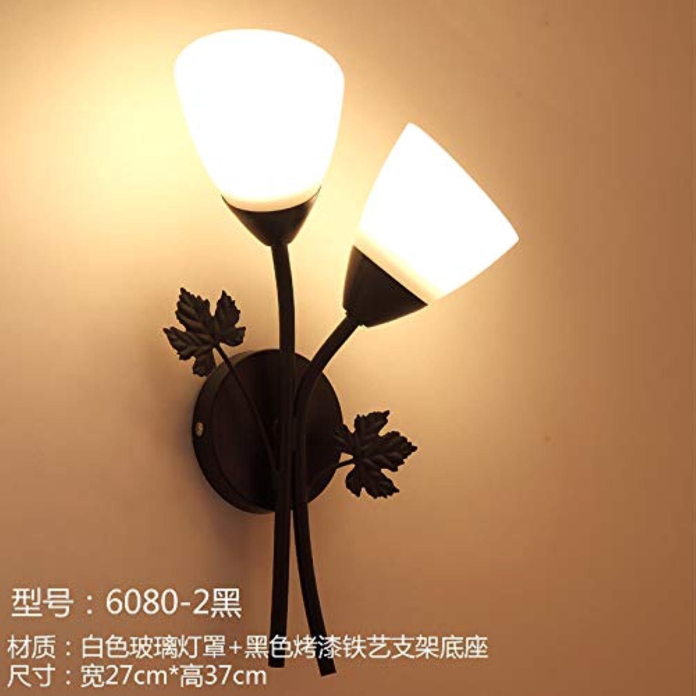Amerikanische wandleuchte wohnzimmer wand TV wandleuchte kreative persnlichkeit retro licht luxus Europischen Nordischen schlafzimmer nachttischlampe, wassermelone rot 6080-2 schwarz + warmes licht