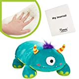 """MEMORY MATES Tasha The One-Eyed Monster Memory Foam Pillow Plush with Kid's Diary That Stores in Belly Pocket, 15"""" Stuffed Animal, 6' Journal"""
