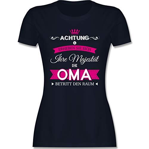 Oma - Ihre Majestät die Oma - S - Navy Blau - Geschenke für Schwangere - L191 - Tailliertes Tshirt für Damen und Frauen T-Shirt