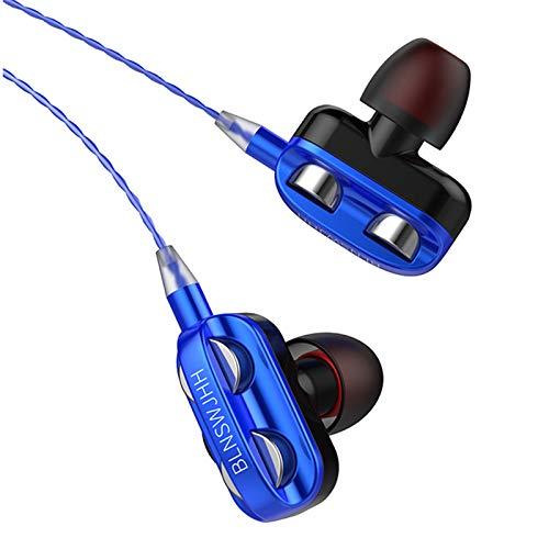 Washranp Auriculares con cable A4, ligeros, de plástico, universales, de bajo pesado, color azul