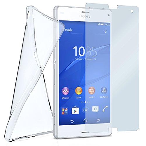 moex Silikon-Hülle für Sony Xperia Z3 Compact | + Panzerglas Set [360 Grad] Glas Schutz-Folie mit Back-Cover Transparent Handy-Hülle Xperia-Z3 Compact Hülle Slim Schutzhülle Panzerfolie
