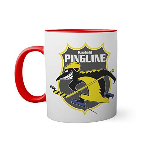 Ice Hockey Team Krefeld Pinguine Eishockey Tasse innen und am Henkel rot außen weiß Mug 330ml