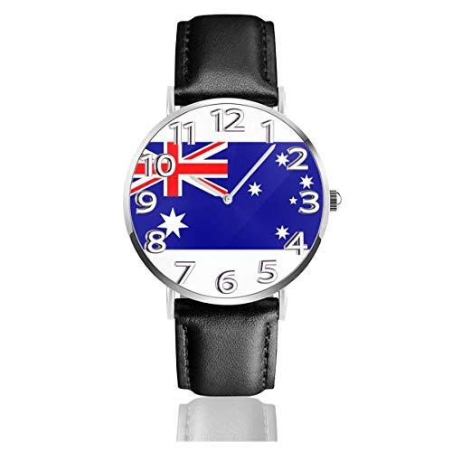 Reloj de Pulsera Aus Flag Patrón Azul Durable PU Correa de Cuero Relojes de Negocios de Cuarzo Reloj de Pulsera Informal Unisex