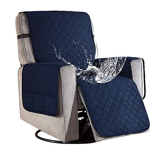 Sesselschoner für Fernsehsessel Relaxsessel, 1 Sitzer Sesselschoner mit Taschen Blau Sesselauflage Relaxsessel Sesselüberwurf Wasserdicht Sesselschutz Sofaüberwurf für Hunde Haustieren