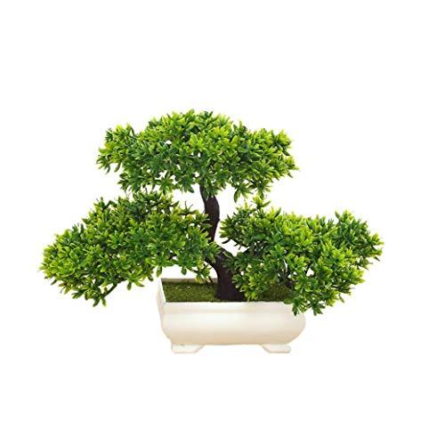 KHHGTYFYTFTY Las Plantas Artificiales Bonsai de simulación de árbol para el hogar y la Oficina Interior Plantas Adornos Decorativos Mini Emular Bienvenida Pino (Verde)