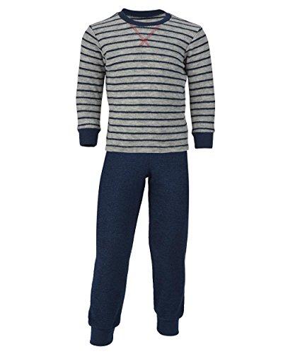 Engel Natur, Kinder Schlafanzug Frottee, 100% Wolle (kbT) (116, Hellgrau Melange/Marine)