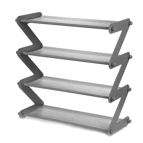 PQXOER Zapatero organizador de metal plegable de 4 niveles, organizador de zapatos de acero desmontable (tamaño: 47,5 x 19 x 46 cm, color: gris)