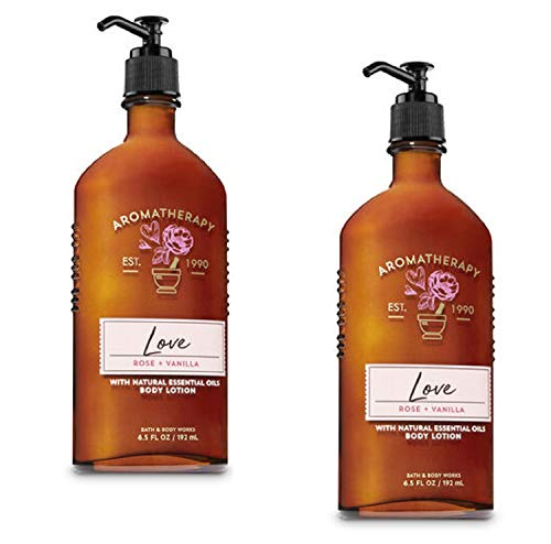 BATH AND BODY WORKS Aromatherapy LOVE - ROSE & VANILLA Lot of 2 Body Lotion - Full Size