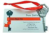 Santa Key for No Chimney Houses Magic Skeleton Keys with Santas Face, 2 Inches Long