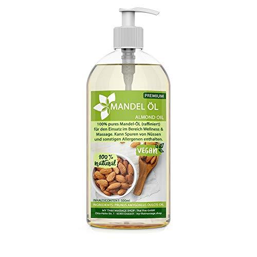 Kitama Mandelöl 100% rein 500ml Naturkosmetik - sanftes Baby-Öl, natürliches Pflege-Öl für Haut & Haar - Ideal für Aromatherapie als Basisöl Massageöl