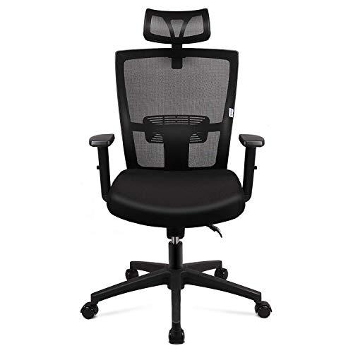 mfavour Ergonomischer Bürostuhl aus Netzstoff, robuster Bürostuhl, verstellbare Kopfstütze und Armlehne, Heimbürostuhl mit Kippfunktion und Positionsverriegelung