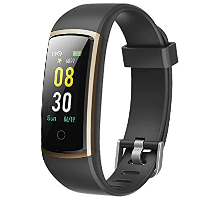 YAMAY Fitness Tracker with Blood Pressure Monitor Heart Rate Monitor,IP68 Waterproof Activity Tracker 14 Mode Smart Watch with Step Counter Sleep Tracker,Fitness Watch for Women Men (Black/Gold)