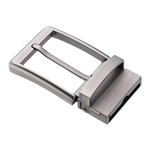 F Fityle Fibbia Cintura Reversibile Accesserio Uomo Per Cinture Scarpe Stivali Borse - Grigio Perla, 35mm