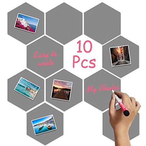10 Packs Picture Panel Wall Board Hexagon Soft Iron Board Tiles Bulletin Board Memo Board with Cuttable Square Soft Magnetic, Decoration for Home Office Classroom Wall(Small,Gray)