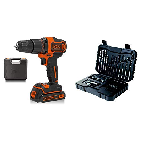 BLACK+DECKER 18 V Cordless 2-Gear Combi Hammer Drill Power Tool with Kitbox, 1.5 Ah Lithium-Ion, BCD700S1K-GB with BLACK+DECKER Drilling and Screwdriver Bit Set - 32 Piece