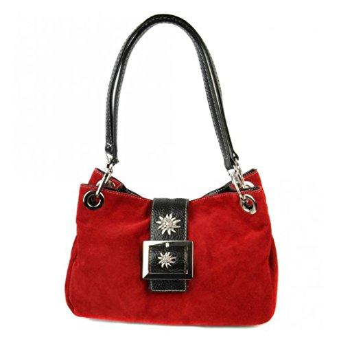 Trachten-Handtasche Dirndltasche mit Edelweiss Veloursleder Wildleder rot