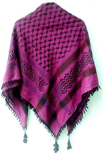 Men Scarf Arab Shemagh Head Scarf Neck Wrap Cottton Palestine Arafat Purple product image