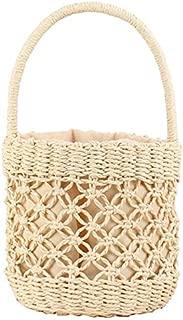 TOOGOO Woven Handmade Fashion Bucket Shaped Shoulder Bag Straw Totes Women Strap Lady Straw Bags Beige