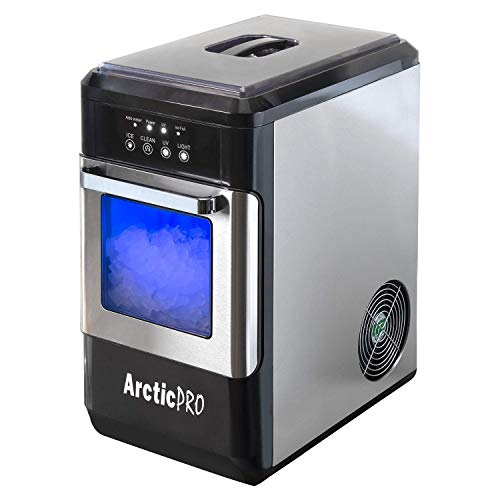 PELLET ICE MAKER WITH UV LIGHT From Arctic Pro, First Ice in 6 Minutes, 50 Pounds Daily, Great for Bars, Kitchens, Parties, with Slide Out Draw, 1 Gallon Tank, Stainless-Black, 9.8x16.1x19.2 Inches
