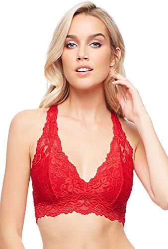 Jenny Jen Bralette de encaje, Mia Sexy Hourglass Racerback Bralettes para mujeres, tamaño S-XL para copas de A a D - Rojo - X-Small