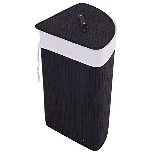 GOFLAME Eck-Wäschekorb aus Bambus mit Deckel und herausnehmbarem Einsatz, Wäschekorb mit Griff, geeignet für Schlafzimmer, Badezimmer, Wäsche (schwarz)