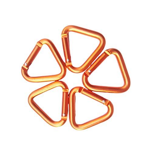 LIOOBO 5 stücke karabiner Clip dreieckige kletterschnalle Aluminium Heavy Duty verriegelungshaken für Sport Camping Angeln wandern Reisen (orange)