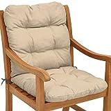 Beautissu Cojines sillas Jardin Flair NL - Cojín para sillas de terraza o Cojines Exterior con Respaldo bajo - 100x50x8 cm - Relleno de Copos de gomaespuma - Natural