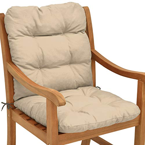 Beautissu Cuscino per sedie da Giardino Flair NL100x50x8cm - Comoda e soffice Imbottitura - Morbido Cuscino per Interni ed Esterni - Ideale Anche per spiaggine - Beige
