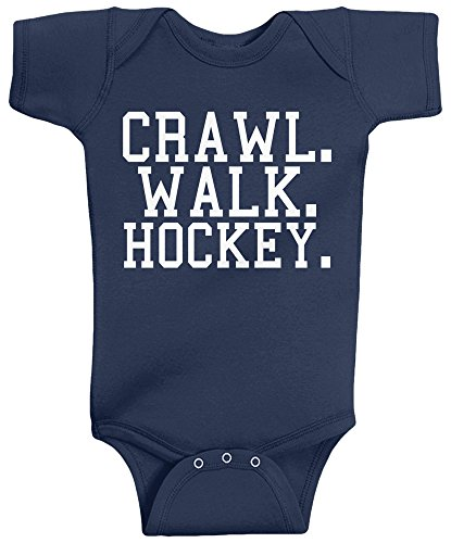 Threadrock Unisex Baby Crawl Walk Hockey Infant Bodysuit 6M Navy