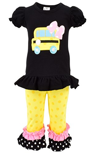 Unique Baby Girls Back to School Bus Shirt Boutique Outfit (3T/S, Black)