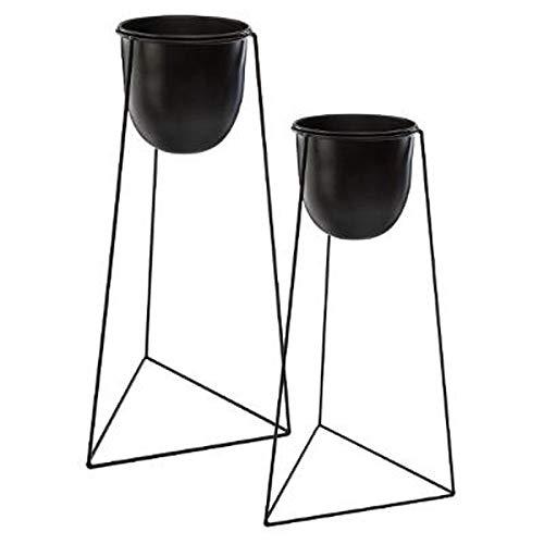 Paris Prix Atmosphera Créateur d'intérieur - Lot de 2 Cache-Pots sur Pied Living 60cm Noir