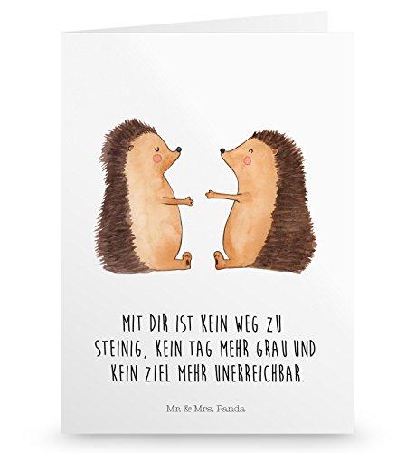 Mr. & Mrs. Panda Hochzeitskarte, Geburtstagskarte, Grußkarte Igel Liebe mit Spruch - Farbe Weiß