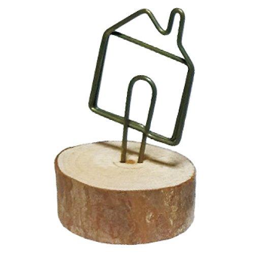 かわいい 木製 ナチュラル ウッド 写真 フォト クリップ ホルダー メモ スタンド カードホルダー メッセージ カード 立て メモ挟み インテリア (018 house �A)