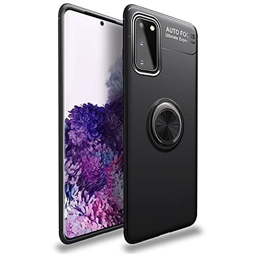 NALIA Ring Handyhülle kompatibel mit Samsung Galaxy S20 Hülle, Silikon Cover mit 360-Grad Finger-Halter für magnetische KFZ-Halterung, Schutzhülle Phone Hülle Handy-Tasche Etui Bumper, Farbe:Schwarz