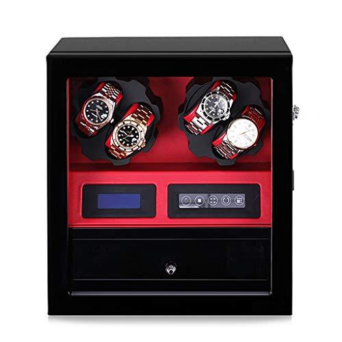 LAMZH Reloj Caja Estuche De Madera + Acabado Piano,5 Modos De Rotación,4+ 5 Almacenamiento De Piel,Aloja hasta 10 Relojes Caja Almacenamiento Reloj (Color : Red)