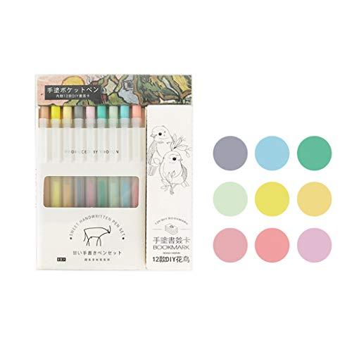 Xzbnwuviei Juego de 9 bolígrafos de mano con cuentas de mano, 9 colores de 0,5 mm, rotuladores de arte de colores para dibujar pintura, acuarela, papelería, suministros escolares