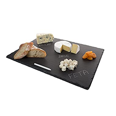 4 Sizes to Choose:  Large Stone Age Slate cheese boards (12 x16  Serving Platter) with Soap Stone Chalk