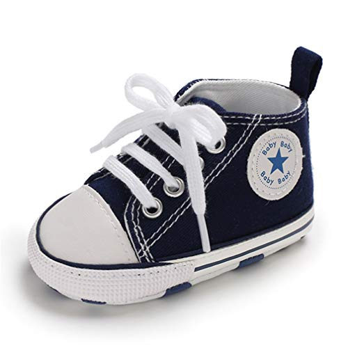 Baby Lauflernschuhe Leinwand Mode Sneakers Weiche und Anti-Rutsch-Sohle Neugeborene Kleinkinder Schnürsterne High-Top Knöchel Canvas Schuhe First Walkers Denim Crib Schuhe