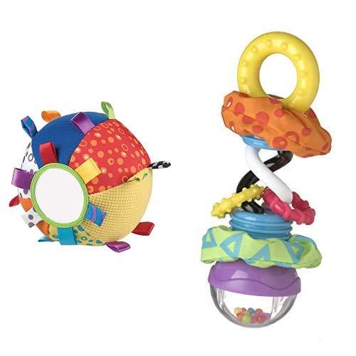 Playgro Mi Primera Pelota de Peluche, Juguete de Actividades, Desde los 3 Meses, Loopy Loops, Multicolor, 40079 + Sonajero Super Shaker, Desde Los 3 Meses, Super Shaker, Multicolor, 40097
