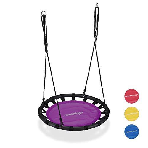 Relaxdays, lila Nestschaukel, runde Hängeschaukel, für Kinder & Erwachsene, verstellbar, draußen, Ø: 80 cm, bis 100 kg