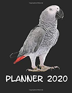"""Planner 2020: Planner Weekly and Monthly for 2020 Calendar Business Planners Organizer For To do list 8,5"""" x 11"""" with African Grey Parrot Jungle Animal Bird"""