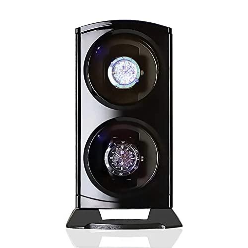 Caja enrolladora de reloj automática enrolladora de reloj enrolladora de reloj doble negra con luces LED Agitador de reloj mecánico automático Caja de almacenamiento de reloj de lujo Exhibidor de joy